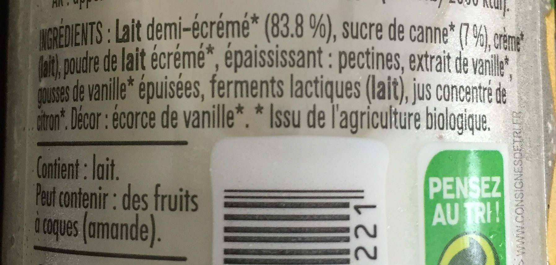 Yaourt bio à boire sucré à la vanille de Madagascar - Ingrediënten - fr