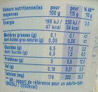 Nature Légère (0 % MG) - Nutrition facts - fr