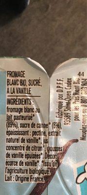 Les p'tits miam vanille - Ingredients