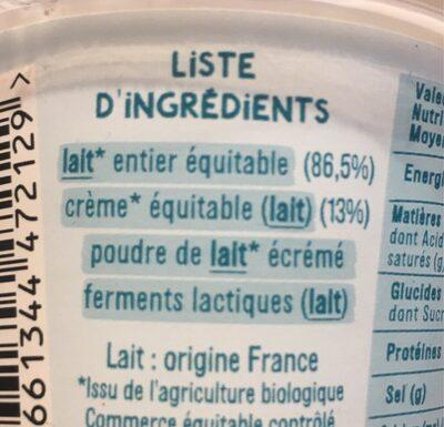 Le yaourt gourmeuh - Ingredients