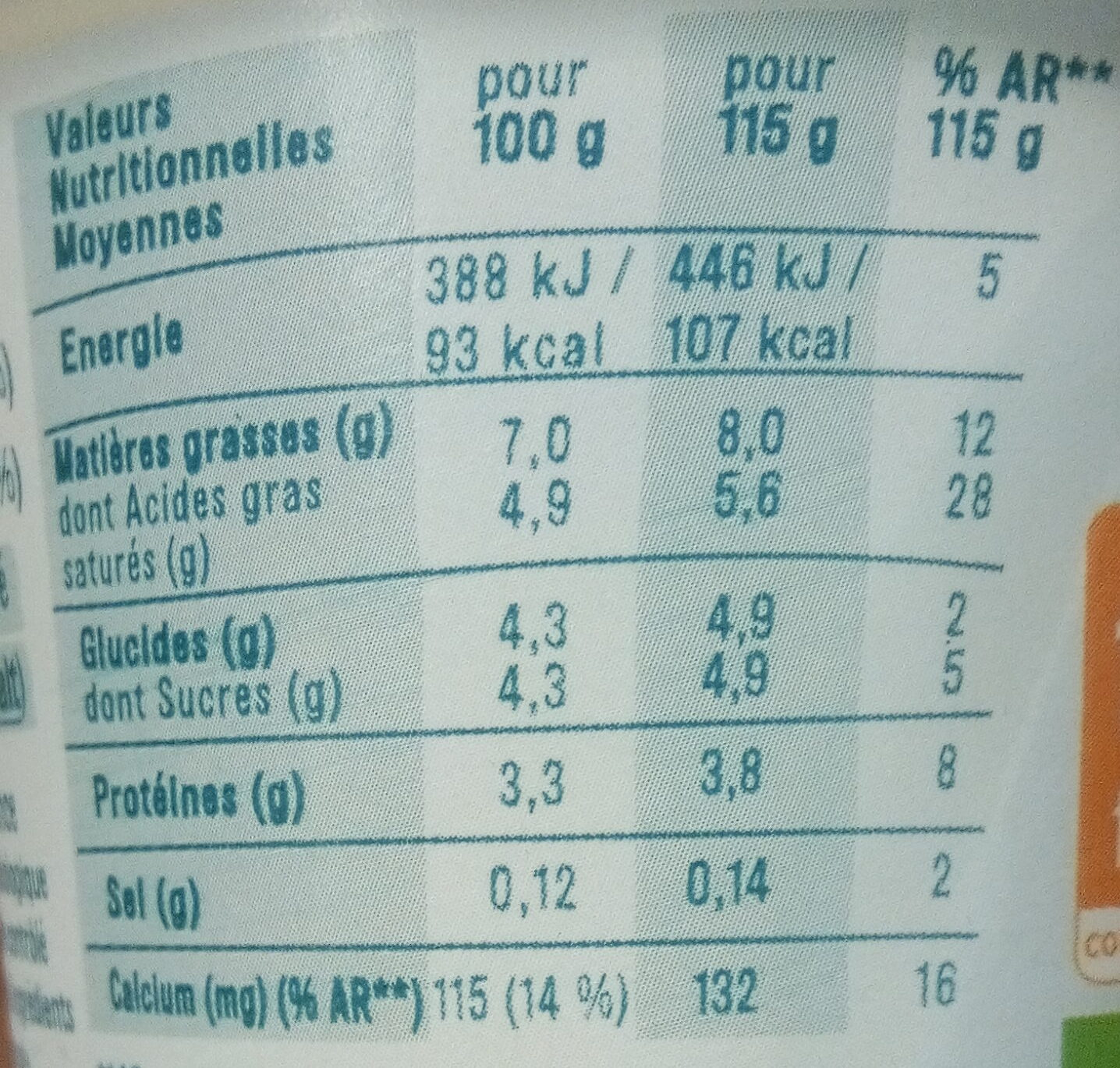 Le yaourt gourmeuh - Nutrition facts