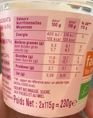 LES 2 VACHES GOURMEUH FIGUE MIEL 115X2 - Informations nutritionnelles - fr