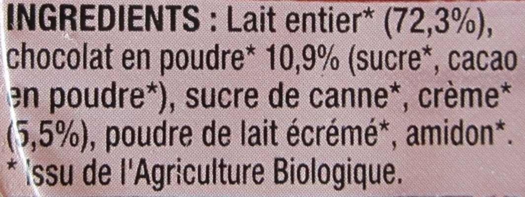 Crèmeuh Chocolat - Ingrediënten - fr