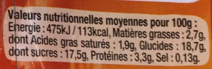Flan Bio à la vanille nappé de caramel - Informations nutritionnelles - fr