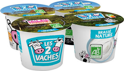 LES 2 VACHES YAOURTS BRASSES NATURE 115 G X 4 - Product - fr