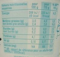 Yaourt bio brassé nature - Nutrition facts