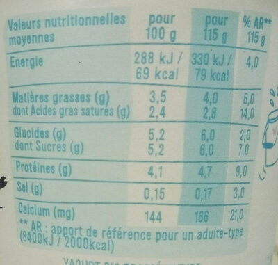 LES 2 VACHES YAOURTS BRASSES NATURE 115 G X 4 - Nutrition facts - fr