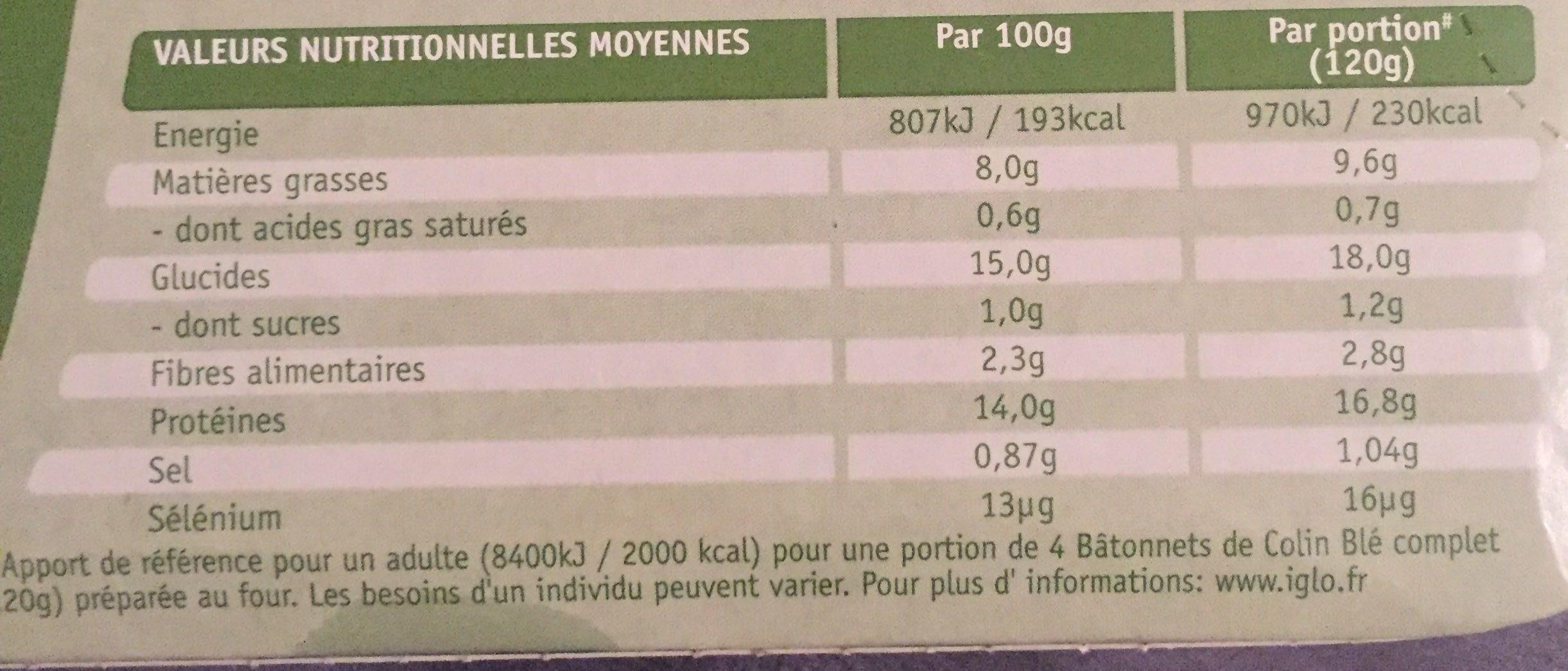 Bâtonnets de Colin - blé complet - Informations nutritionnelles