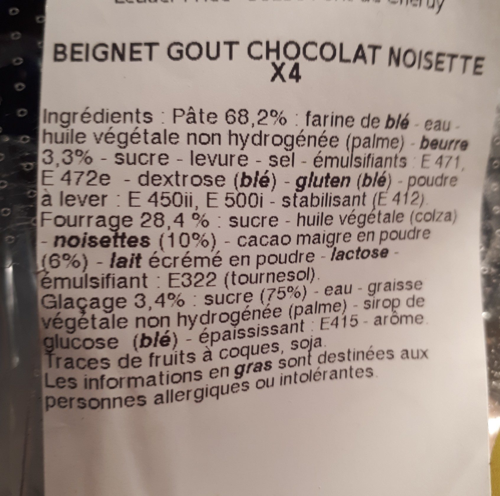 Beignet choco noisette - Ingrédients