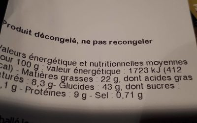 Beignet choco noisette - Informations nutritionnelles