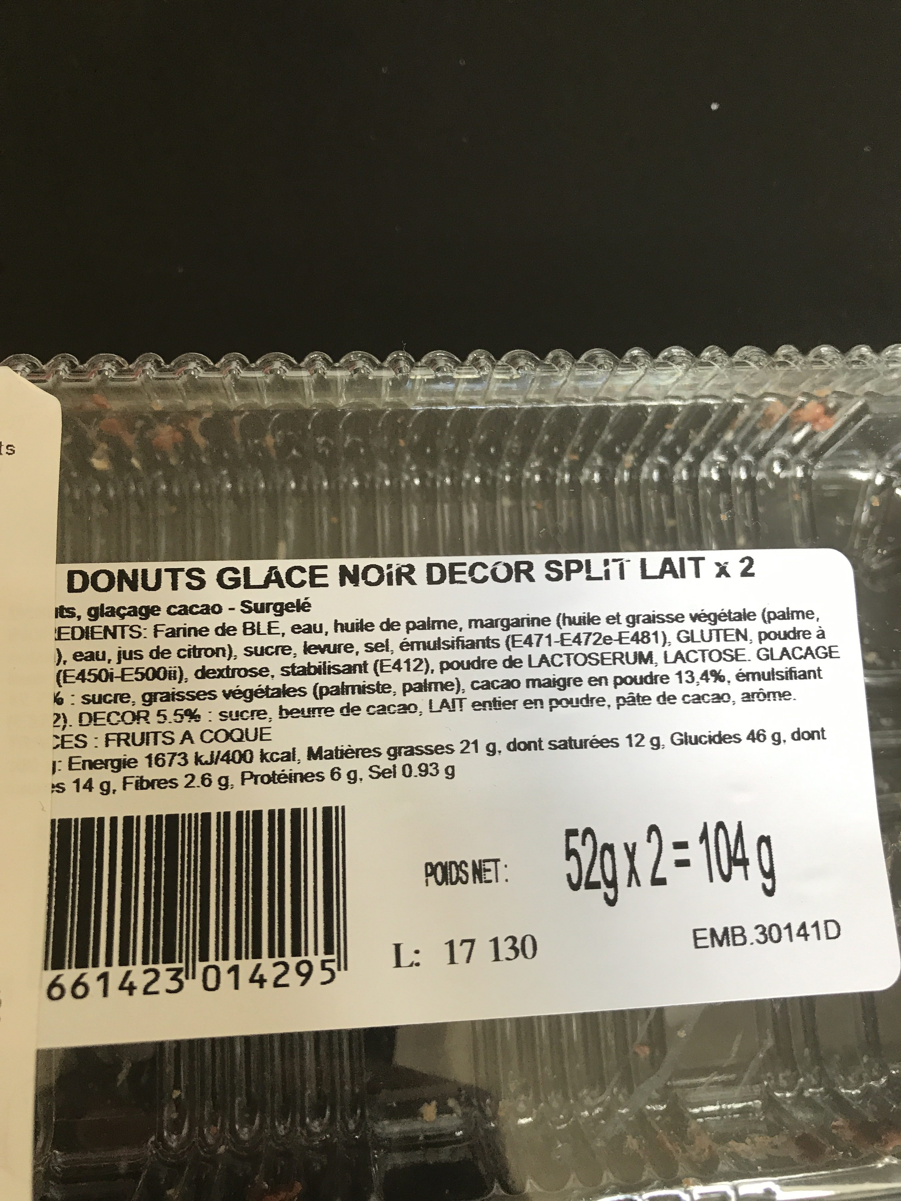 Donuts glace noir - Ingredients