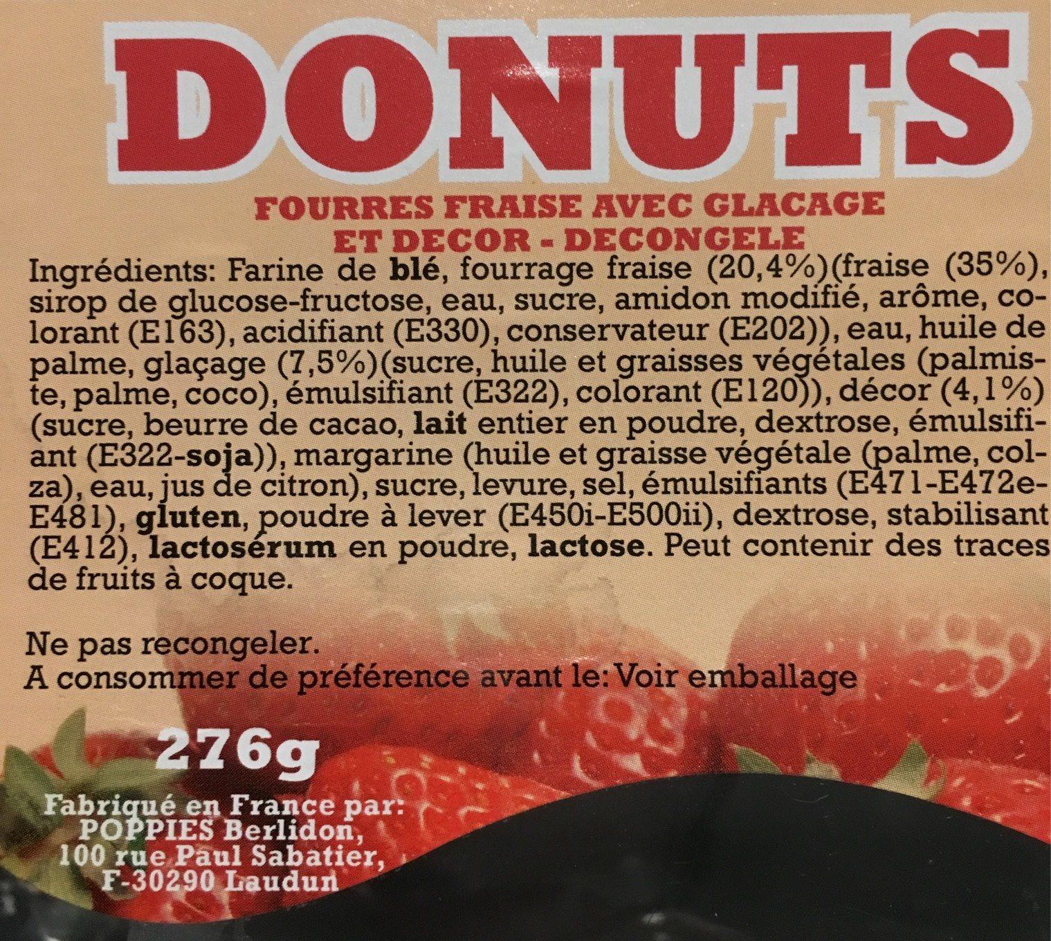 Donuts fourrés fraise avec glaçage et decor - Produit - fr