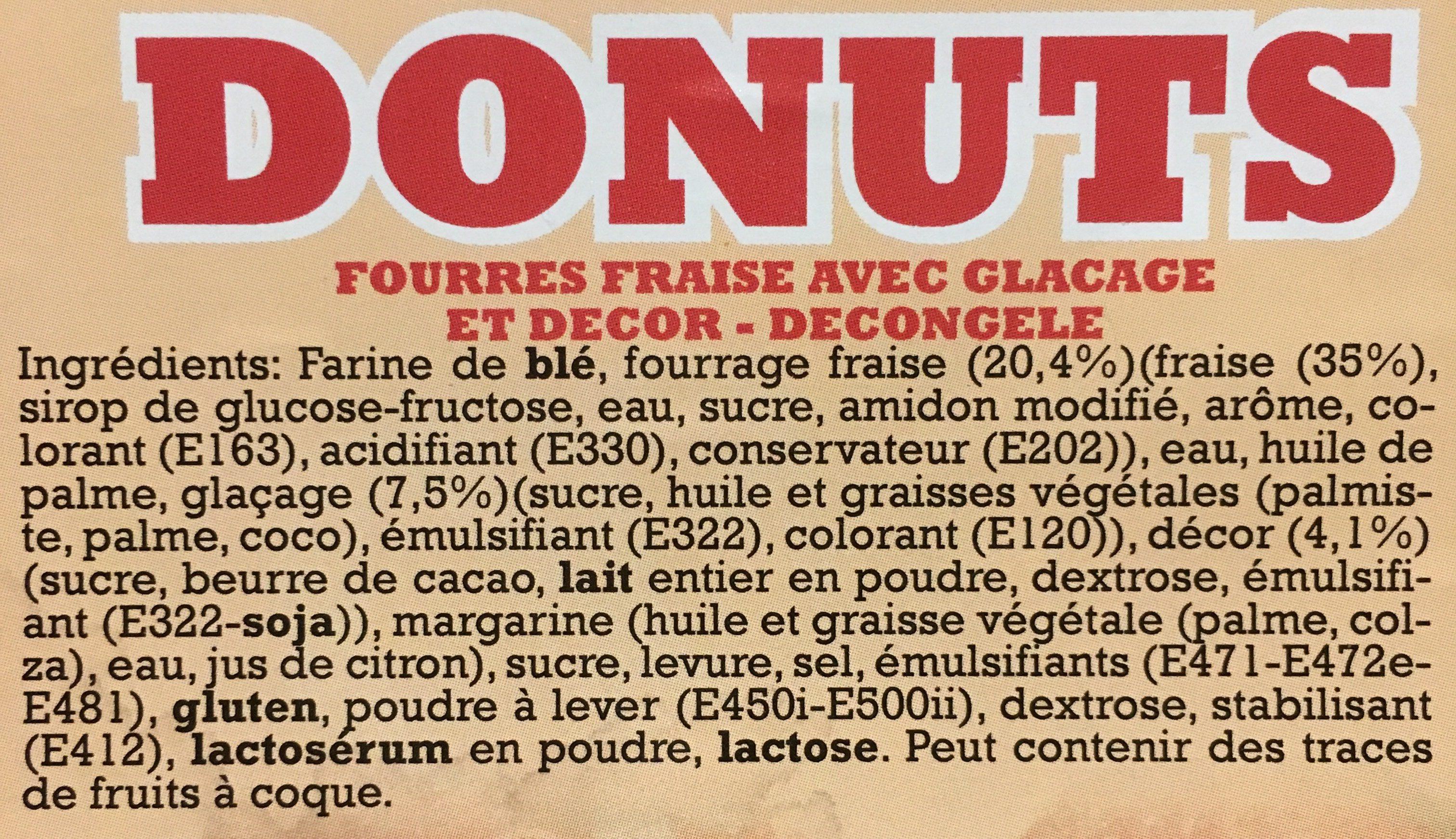 Donuts fourrés fraise avec glaçage et decor - Ingrédients - fr