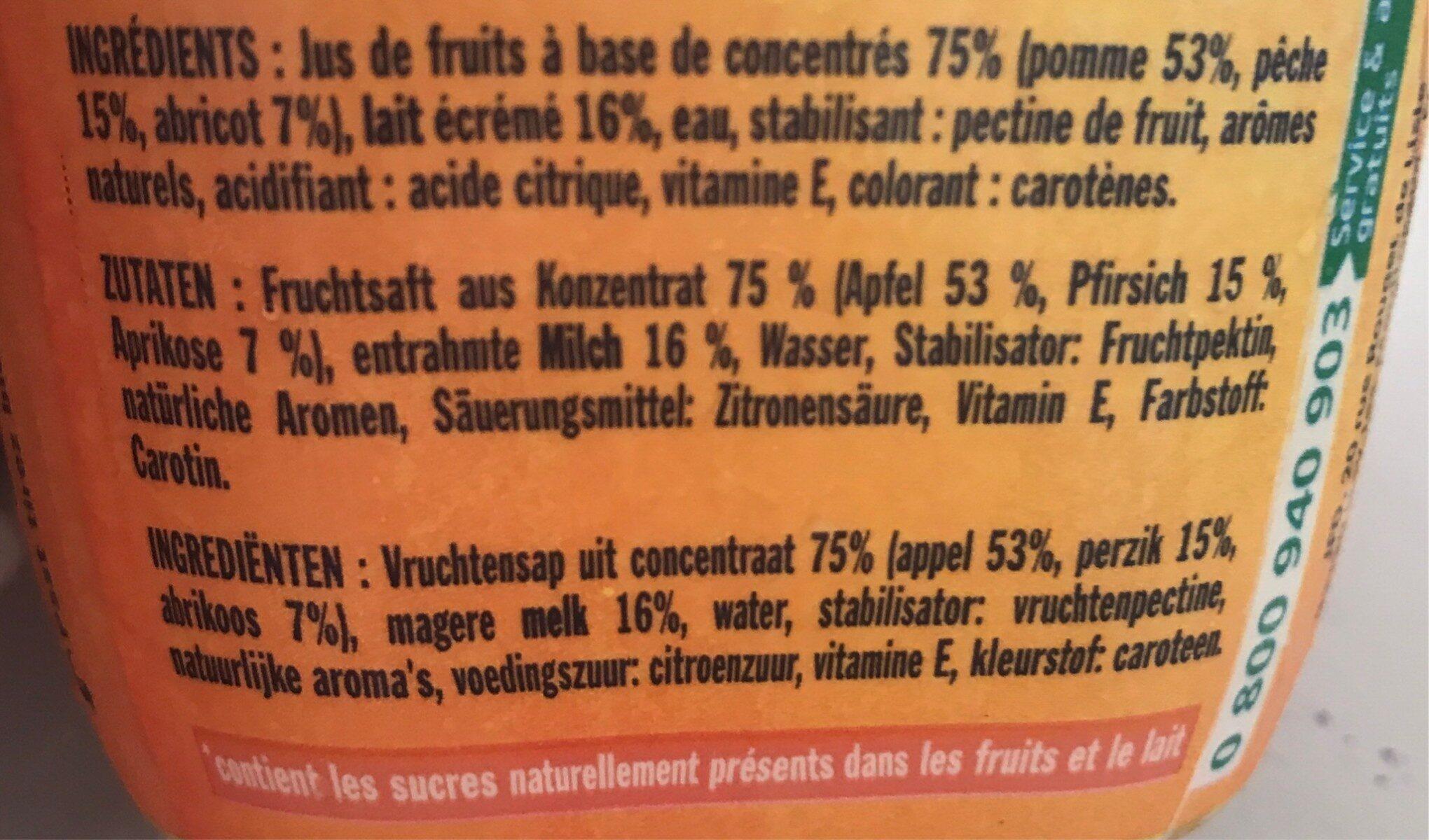 Danao pêche abricot - Ingrédients