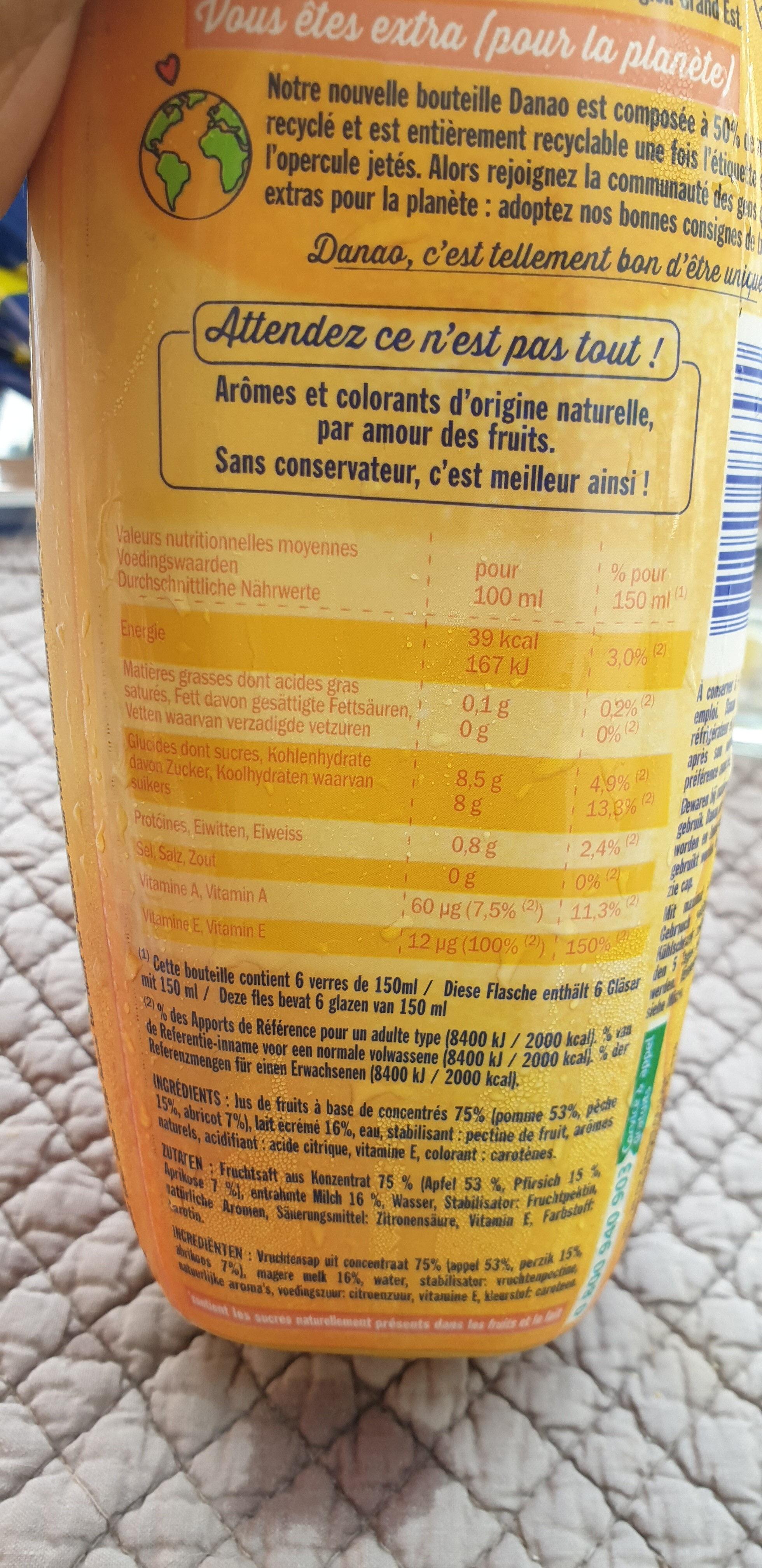 Danao pêche abricot - Informations nutritionnelles