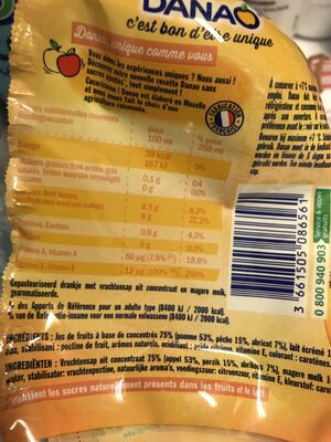 Danao pêche abricot - Nutrition facts - fr