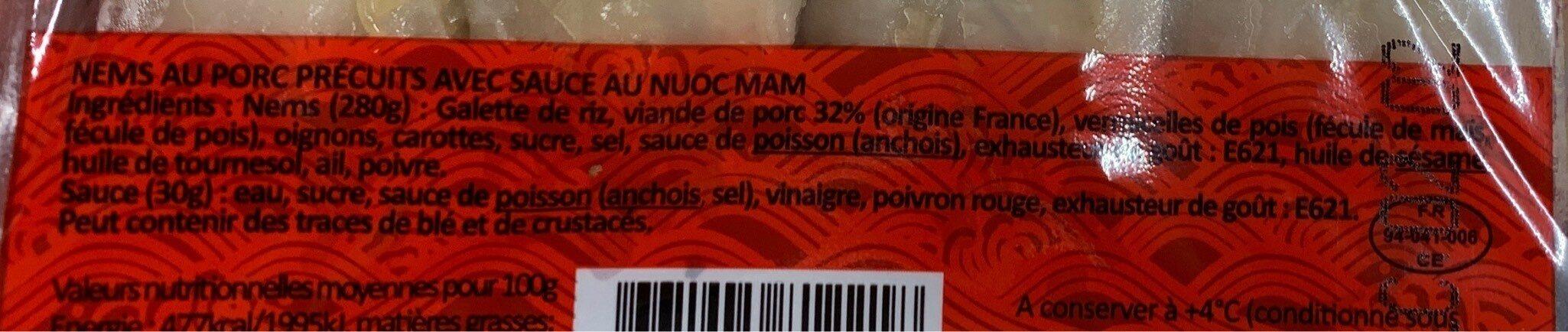 Nems de porc - Informations nutritionnelles