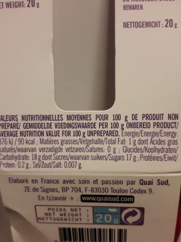 Thé licorne - Informations nutritionnelles