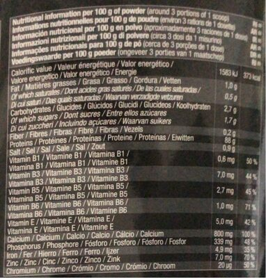 Whey arkens - Nutrition facts - fr