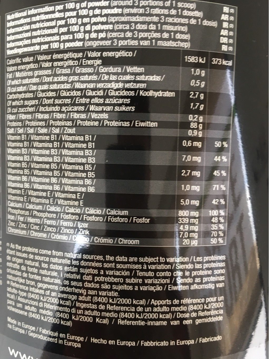 Whey arkens - Informations nutritionnelles