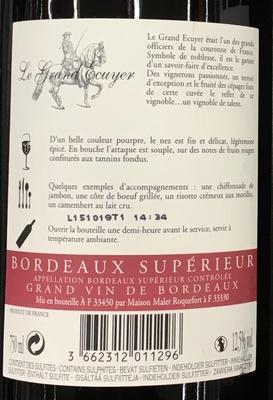 Le Grand Ecuyer Bordeaux Supérieur 2012 - Ingrédients - fr