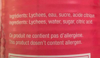 Lychees au sirop - Ingrediënten