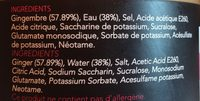 Gingembre Mariné Nature Blanc Gari - Ingrédients