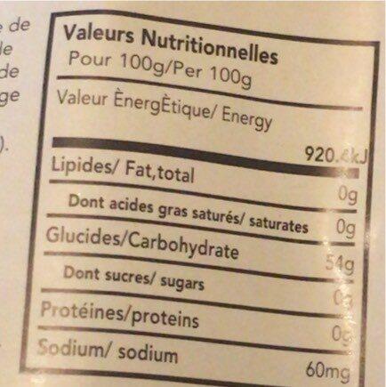 Tapioca pearl - Valori nutrizionali - fr