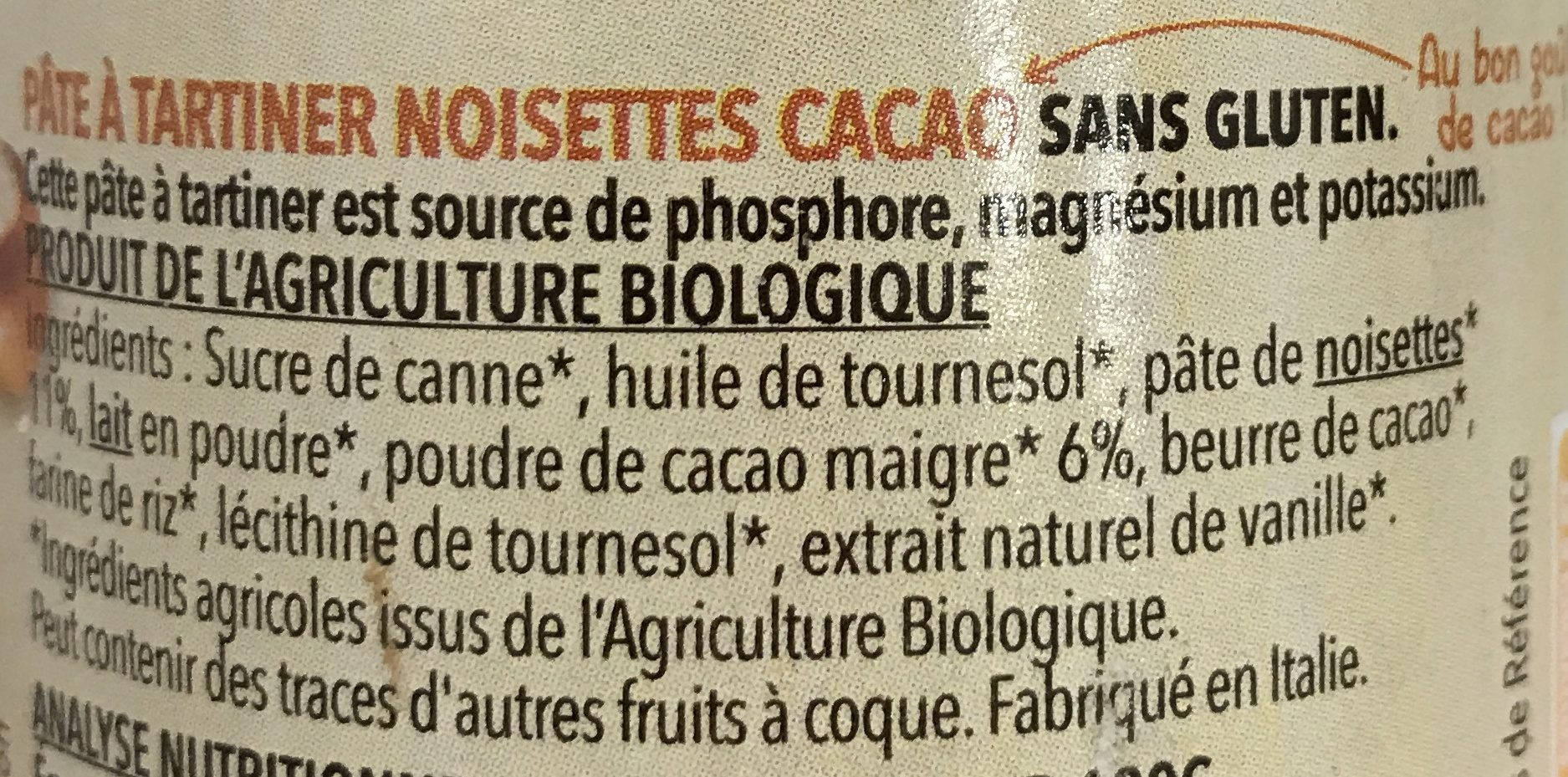 Pâte à tartiner noisettes cacao - Ingredienti - fr