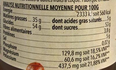 Pâte à tartiner noisettes cacao - Valori nutrizionali - fr