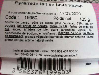 La Pyramide specialite nº4 - Nutrition facts - fr