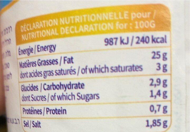 Vinaigrette nature - Voedingswaarden - fr
