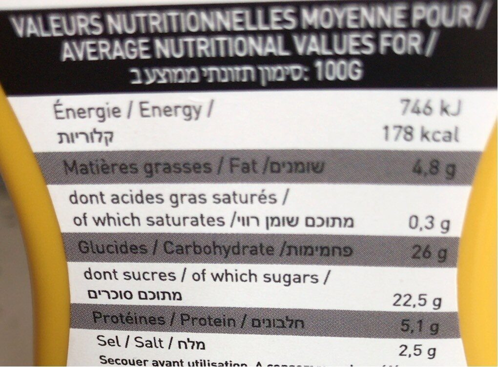 Moutarde au Miel - Informations nutritionnelles - fr