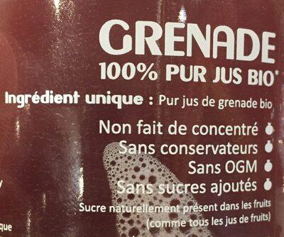 Grenade 100% pur jus bio - Ingredients - fr