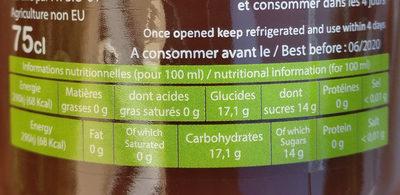 Grenade 100% pur jus bio - Nutrition facts - fr