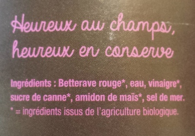 Betterave rouge tranchée bio - Ingredients - fr