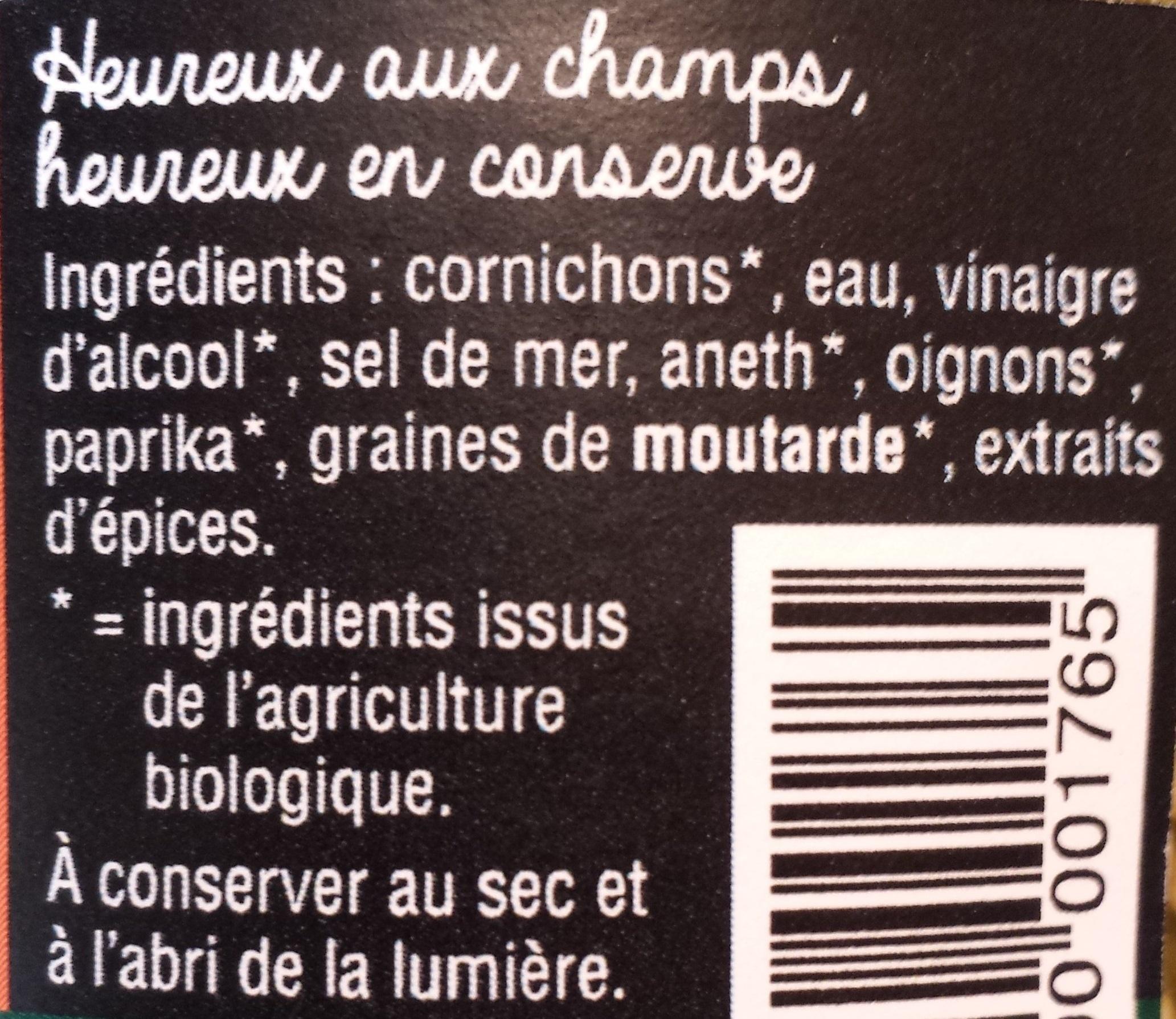 Cornichons au vinaigre BIO - Ingrédients