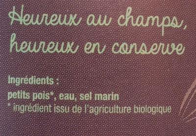 Petits pois bio - Ingredients - fr