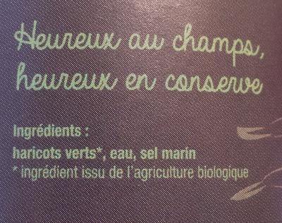 Haricots verts bio - Ingredients - fr