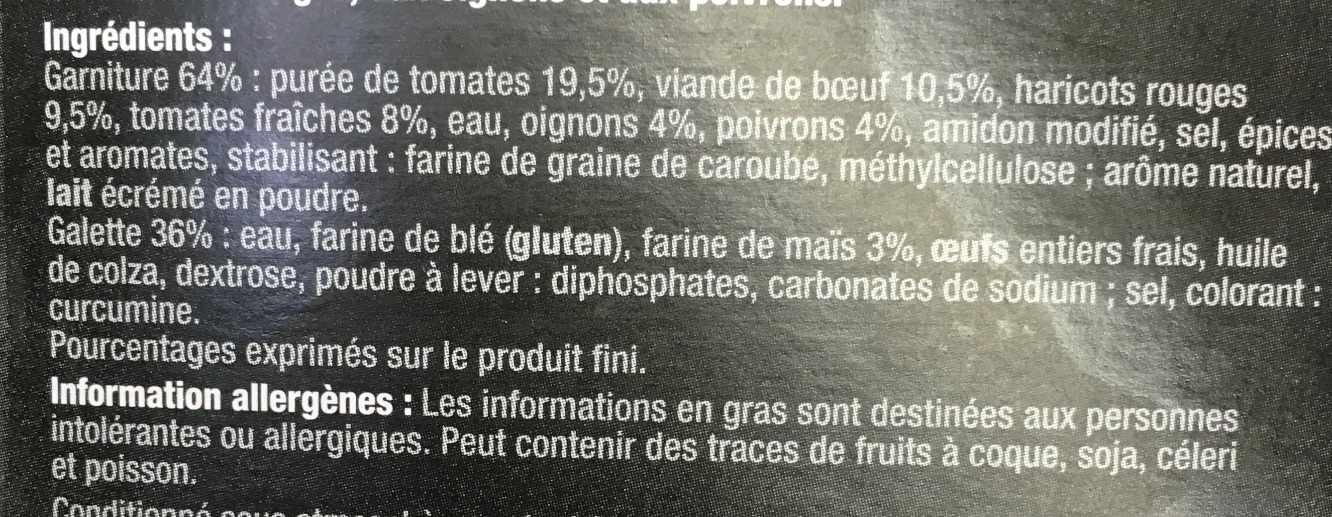 Fajitas Chili con Carne doux - Ingrédients
