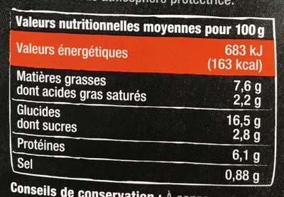 Fajitas Chili con Carne doux - Informations nutritionnelles