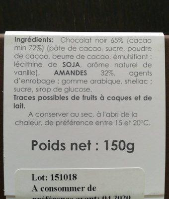 Amandes au chocolat noir - Ingrédients