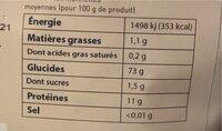 Farine de blé t65 bio - Informations nutritionnelles - fr