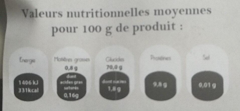 Farine française T55 - Nutrition facts - fr