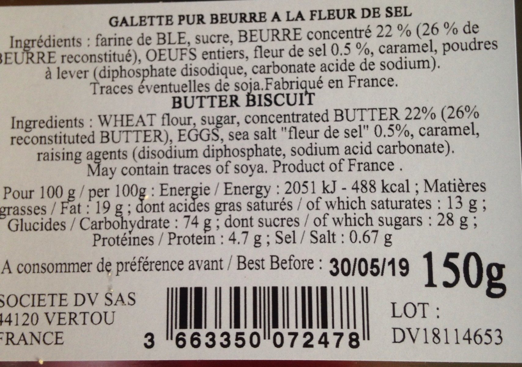 Galettes pur beurre - Ingrediënten