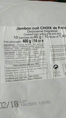 Jambon cuit Choix de paris - Product - fr