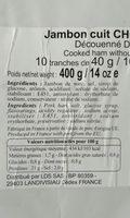 Jambon cuit Choix de paris - Ingrediënten - fr