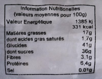 Torrone mix - Nutrition facts - fr