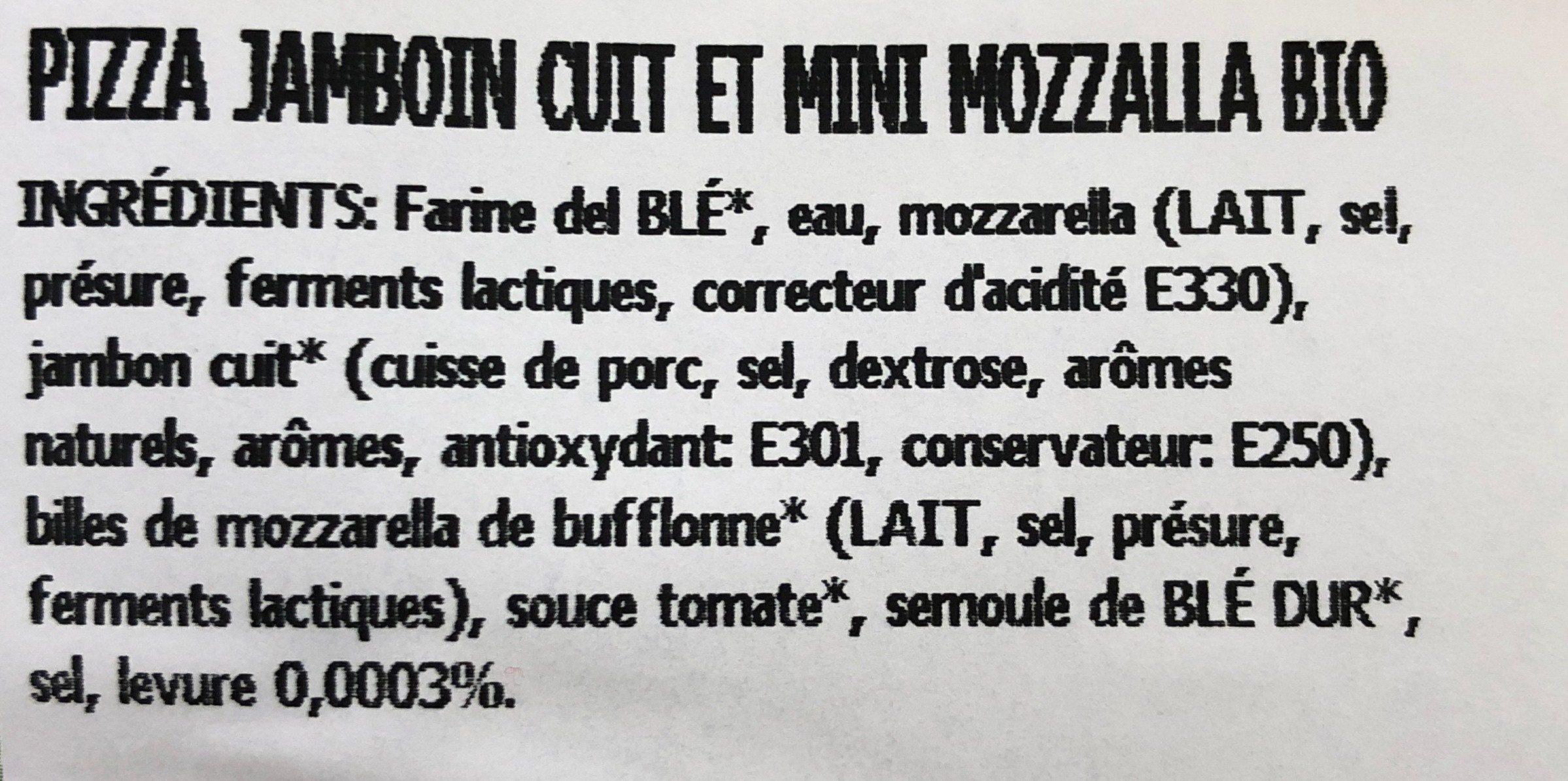 Pizza jambon cuit et mini mozzarella (BIO) - Ingrediënten