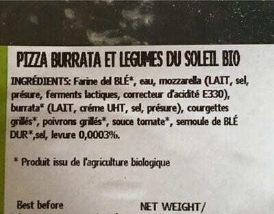 La pizza bio - Ingrediënten